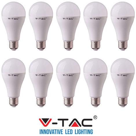 10 LAMPADINE LED V-Tac Bulbo E27 da 9W Lampade Luce Calda Naturale Fredda