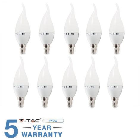10 LAMPADINE LED E14 FIAMMA 4W 30 W V-TAC BULB LAMPADINA LAMPADA COLPO DI VENTO