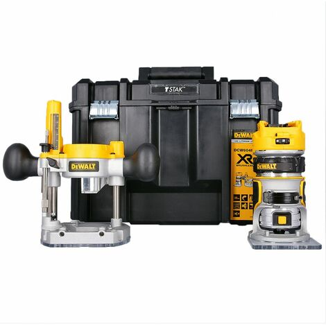 """DeWalt DCW604NT 18V XR Li-ion Brushless 1/4\"""" Router/Trimmer in T-Stack Case With Extra Base"""