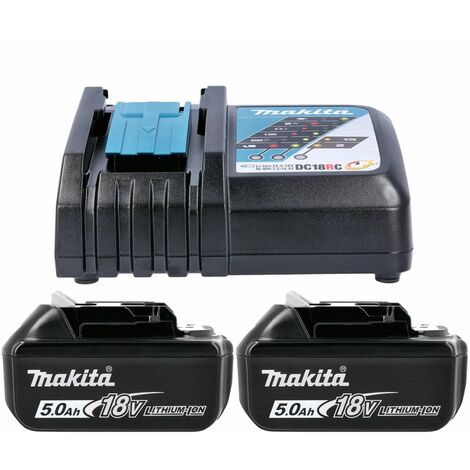 Makita Genuine BL1850 18V Li-Ion LXT 5.0Ah Battery Twin Pack With Charger