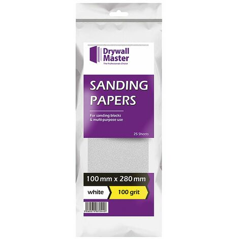 Drywall Master Sand Paper White 100mm x 280mm 100 Grit