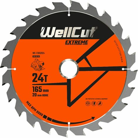 WellCut TCT Saw Blade Extreme 165mm x 24T x 20mm Bore Suitable For DSS610, DCS391, M18CS55, GKS18