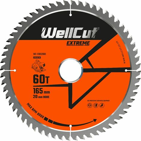 WellCut TCT Saw Blade Extreme 165mm x 60T x 20mm Bore Suitable For DSS610, HD18CS, DCS391, GKS18