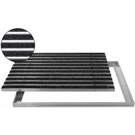 ACO Eingangsmatte 75x50cm Rips anthrazit mit ALU Rahmen Fußmatte Türmatte Abstreifer Schuhabstreifer
