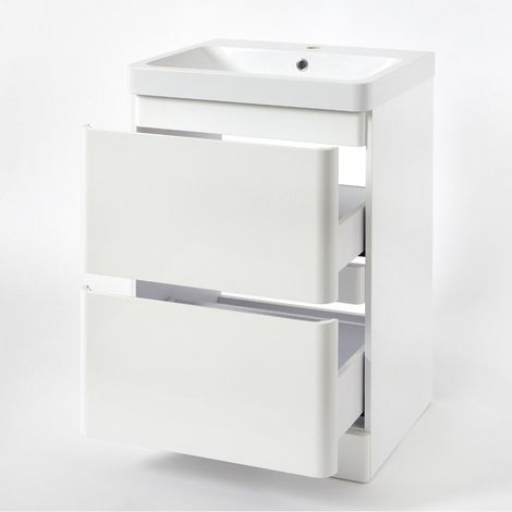 Hudson Reed Daxon - Waschtisch mit Unterschrank B 600mm Weiß