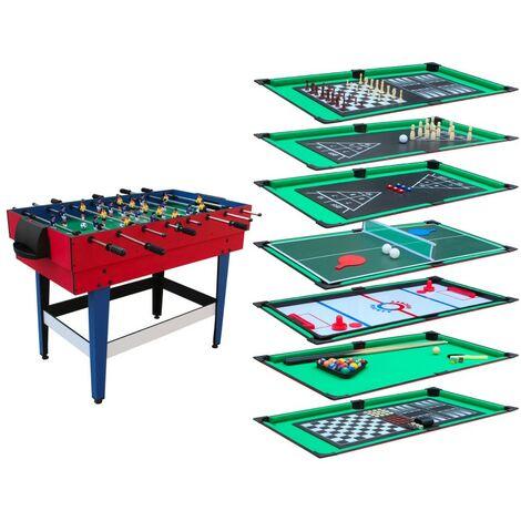 Table Multi-Jeux 12 en 1 avec plateaux de jeux modulables, Billard, Babyfoot, Ping-Pong, Hockey,,,