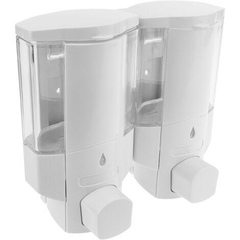 PrimeMatik - Dispensador de jabón transparente de ducha para pared. 2 x depositos rellenables