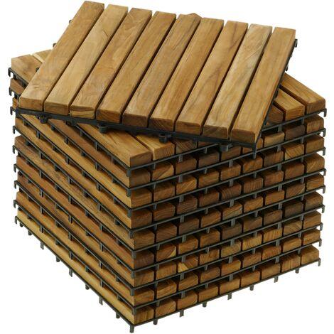 PrimeMatik - Baldosas 30 x 30 cm 9 listones en madera de teca certificada 10 unidades