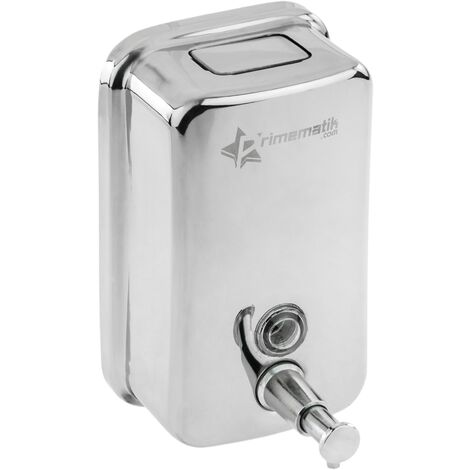 PrimeMatik - Dispensador de jabón de acero inoxidable para pared 500ml