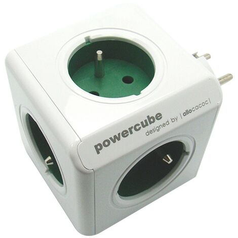 Multiprise électrique Powercube Bloc 5 prises - vert