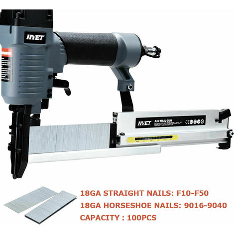 2-IN-1 Air Nailer Stapler Nail Gun 18 Gauge Brad Nails Pneumatic Powered Tool