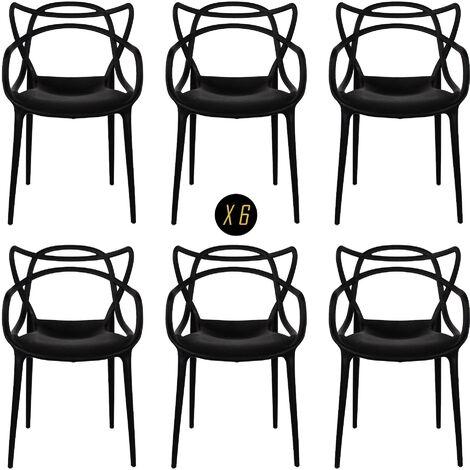 Sedia Moderna x4 Ristorante Interno Esterno Firenze Nero
