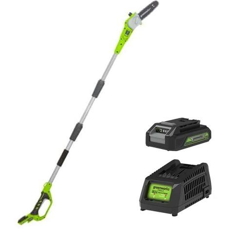 Pole pruner GREENWORKS 24V - 20 cm - 1 battery 2.0 Ah - 1 charger - G24PS20K2