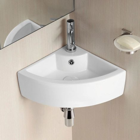 465mm BATHROOM WALL HUNG CLOAKROOM CERAMIC COMPACT CORNER BASIN SINK
