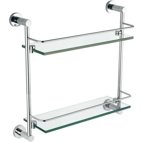 Modern Round Brass Double Glass Shelf