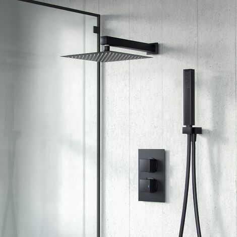 Temel Black Matt Square Rainfall Shower Head with Hand Held Thermostatic Valve