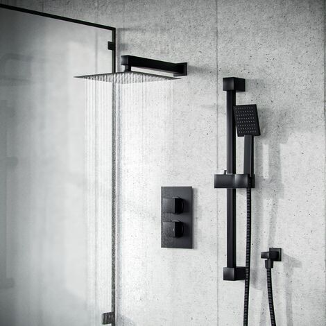 Temel Matt Black Rainfall Shower Head with Hand Held and Thermostatic Valve Set