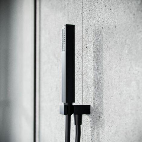 Matt Black Ultra Stylish Hand Held Shower Bracket Holder Wall Outlet Kit