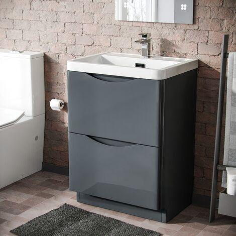 LYNDON Freestanding Dark Grey Gloss Basin Vanity Unit - 600mm