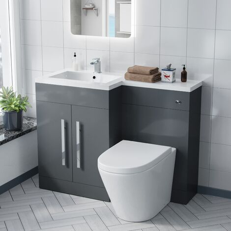 Aric 1100 mm Left Hand Vanity Cabinet with WC Back To Wall Toilet