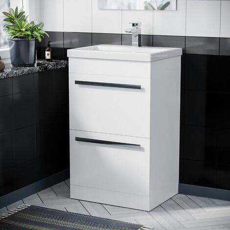500mm Floor Standing Cabinet 2 Drawer Gloss White Ceramic Sink Basin