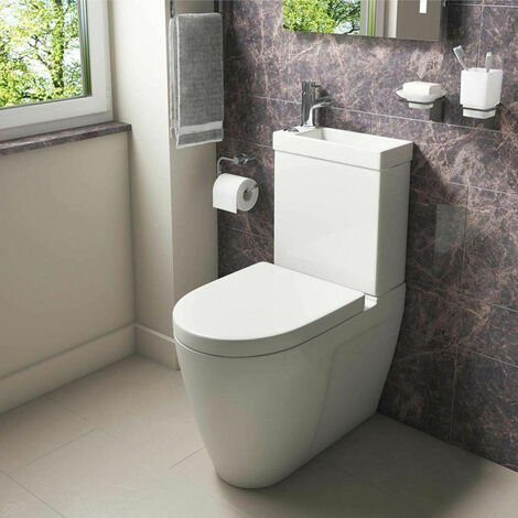 Bathroom Space Saver Combo 2 In 1 WC Close Coupled Toilet Seat & Basin