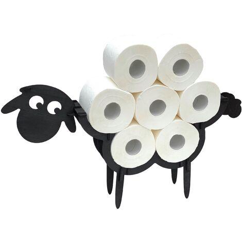 DanDiBo Toilettenpapierhalter Schwarz Holz Schaf WC Rollenhalter Klopapierhalter Freistehend WC Papierhalter Toilettenrollenhalter