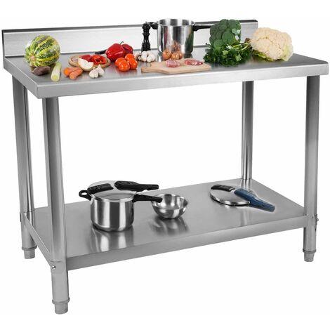 Table De Travail Adossee Plan Renforcé Professionnel Cuisine Inox 100X60cm 114kg