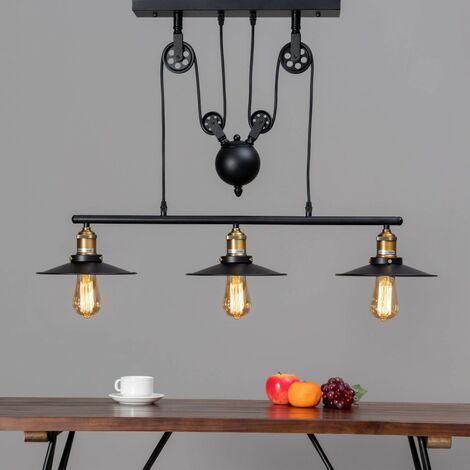 Lampe industrielle suspension - Triple Piattino - Noir