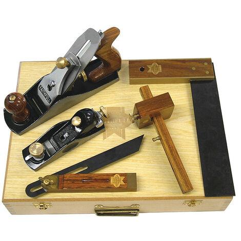 Faithfull FAICARPSET Carpenters Tool Kit 5 Piece in Wooden Box