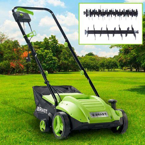 Scarificateur électrique 1500W 32cm 35 l 2en1 aérateur et démousseur pelouse un réglage central 4 étapes, ergonomique - de BRAST