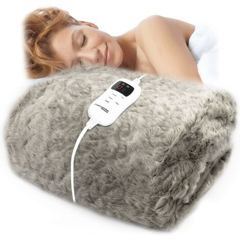Dreamcatcher Deluxe Luxurious Faux Fur Electric Heated Throw 160 x 130cm Grey Soft Cosy Plush Faux Fur, Heated Electric Blanket, Large Overblanket with Timer and 9 Control Heat Settings (Grey)