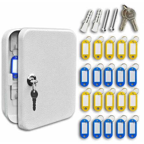 Futura Genuine 20 Hook Key Cabinet Wall Mountable Key safe 20 Key Tags Included Compact Steel Ideal for Home or Office, Dimensions: 200mm x 160mm x 70mm (20 Key)