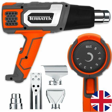 Terratek Pro 2000W Heat Gun Professional Hot Air Gun, Variable Temperature Control 80°C - 600°C, Ideal for Stripping Paint, Soldering Pipes, Shrinking PVC