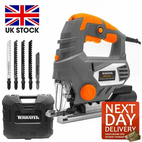 Terratek 800W Electric Jigsaw, 6 Speeds, Laser Guide, Cutting Capacity 100mm Wood, 10mm Metal, MAX 45°Cutting Angle, Quick Tool Free Blade Change