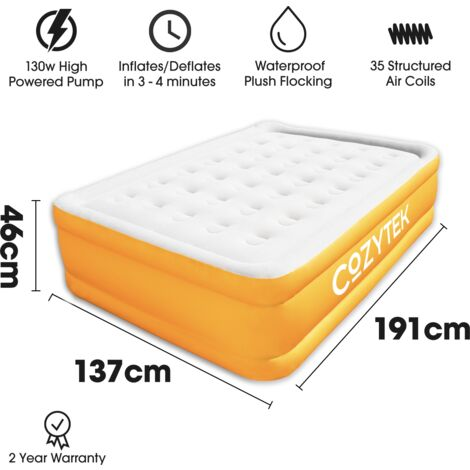 Cozytek Premium Version Inflatable Mattress Double Blow up Air Bed with Built in Pump