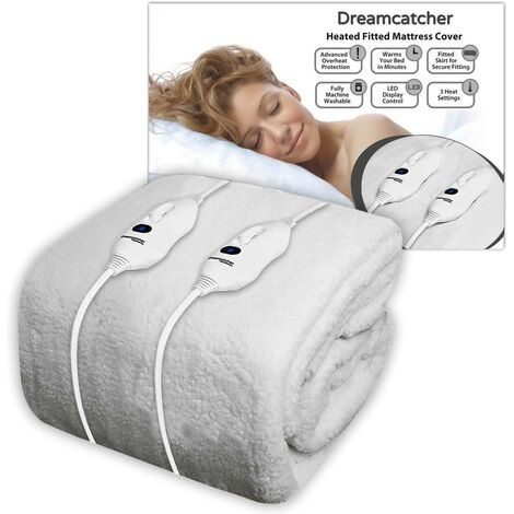 Dreamcatcher Double Electric Blanket Luxury Fleece, Double Bed 193 x 137cm Electric Heated Blanket, Soft Fitted Underblanket Fitted Mattress Cover 3 Comfort Settings, 2 x Controllers Machine Washable