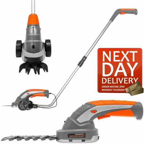 Terratek 2 IN 1 Pro 7.2V Telescopic Cordless Hedge Trimmer Built in Lithium Ion Battery, Topiary Shears, Hand Held Trimmer, Cordless Shears Ideal for Shrub, Garden, Grass or Lawn Cultivation