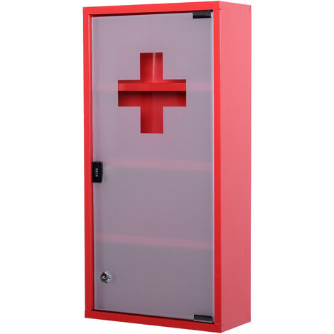 HOMCOM® Arzneischrank Erste Hilfe abschließbar   Edelstahl, Sicherheitsglas   30 cm x 12 cm x 60 cm   Rot