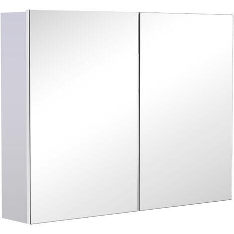 HOMCOM® Spiegelschrank Badspiegel Wandspiegel - weiß