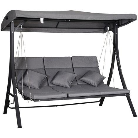 Outsunny® Hollywoodschaukel 3-Sitzer Gartenschaukel Verstellbares Dach Textilene Grau - grau/schwarz