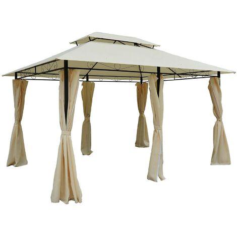 Outsunny® Pavillon Gartenzelt Doppeldach 3x4m Milchweiß - milchweiß/schwarz