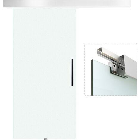 HOMCOM® Glasschiebetür mit Griffstange   Einseitig satiniert   102,5 x 205 cm - silber/transparent