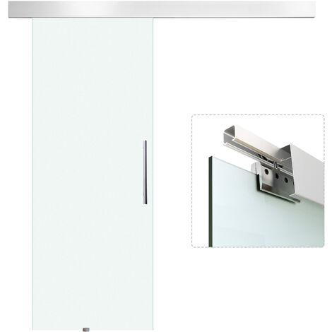 HOMCOM® Einseitig satinierte Glasschiebetür mit Griffstange   205 x 90 cm   Transparent - silber/transparent