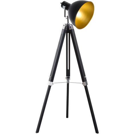 Homcom® Stehlampe Dreibein Stehleuchte höhenverstellbar 108-152cm E27 Industrial Schwarz - schwarz/gold