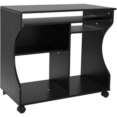 HOMCOM® Computertisch rollbar mobil PC Tisch Schwarz - schwarz