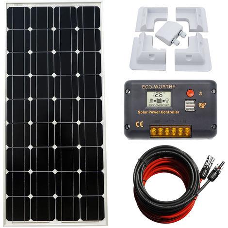 100W Mono Solar Panel Kit high power 20A Solar Controller FOR Caravans Boats