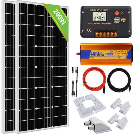 200W Mono Solar module & 1KW 12V-220V inverter off Grid System & mount Bracket