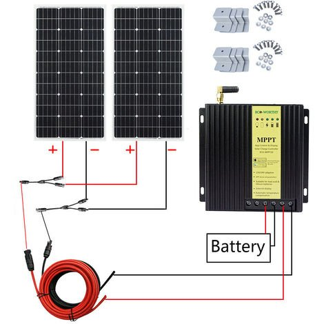 200 Watt 18V Mono Solar Panel Battery Kit 20A MPPT Charger Controller Off Grid