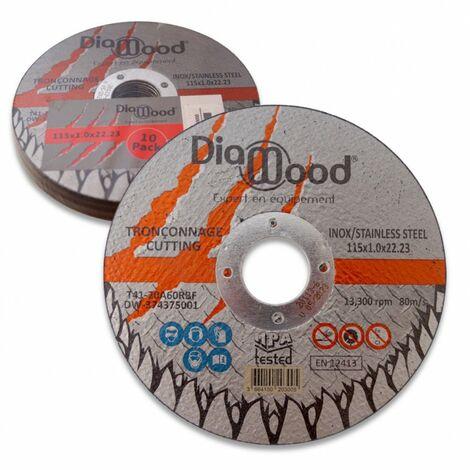 Lot de 10 disques à tronçonner D. 115 x Al. 22,23 x ép. 1 mm - Inox, Acier - Diamwood
